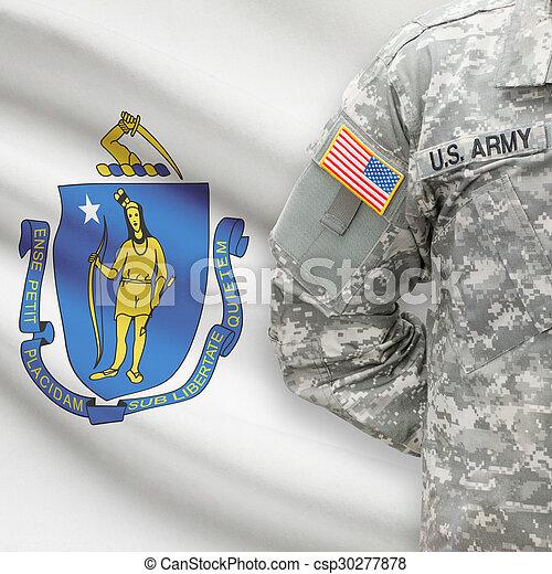 állam, -, amerikai, bennünket, katona, lobogó, massachusetts, háttér - csp30277878