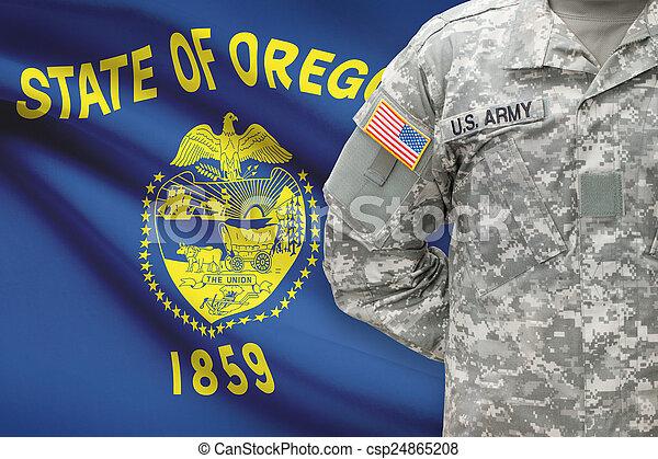 állam, -, amerikai, bennünket, katona, lobogó, oregon, háttér - csp24865208