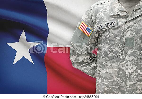 állam, -, amerikai, bennünket, katona, lobogó, háttér, texas - csp24865294