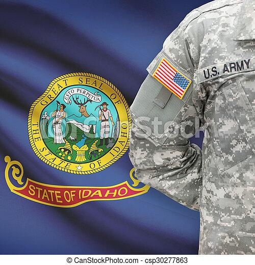 állam, -, amerikai, bennünket, katona, lobogó, háttér, idaho - csp30277863