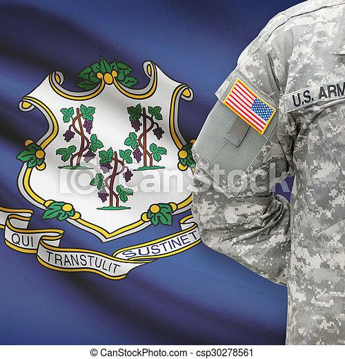 állam, -, amerikai, bennünket, katona, lobogó, connecticut, háttér - csp30278561