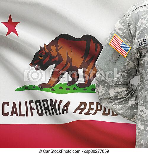állam, -, amerikai, bennünket, katona, lobogó, kalifornia, háttér - csp30277859