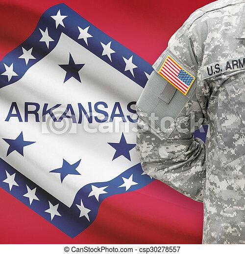 állam, -, amerikai, bennünket, katona, lobogó, arkansas, háttér - csp30278557