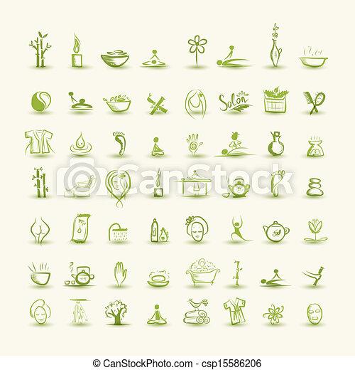 állhatatos, ásványvízforrás, ikonok, tervezés, -e, masszázs - csp15586206