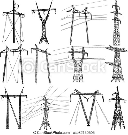 állhatatos, erő, villanyáram, lines., átadás, vektor, ábra - csp32150505
