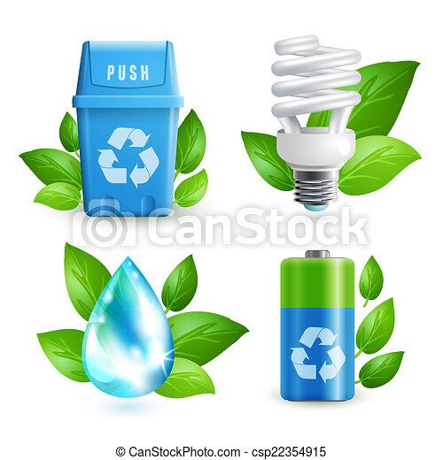 állhatatos, hulladék, ökológia, ikon - csp22354915