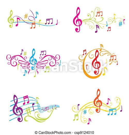 állhatatos, színes, hangjegy, -, ábra, vektor, zenés - csp9124010