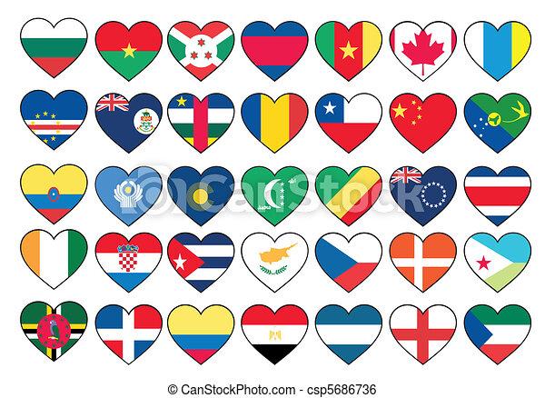 állhatatos, szív, zászlók - csp5686736