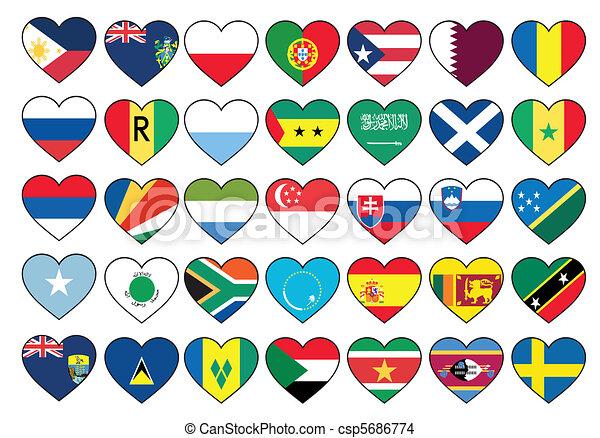 állhatatos, szív, zászlók - csp5686774