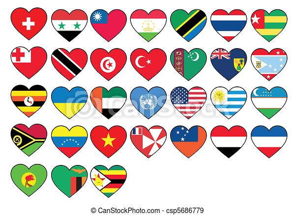 állhatatos, szív, zászlók - csp5686779