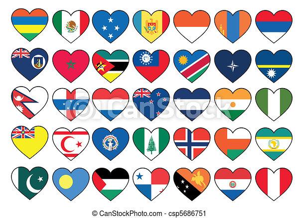 állhatatos, szív, zászlók - csp5686751
