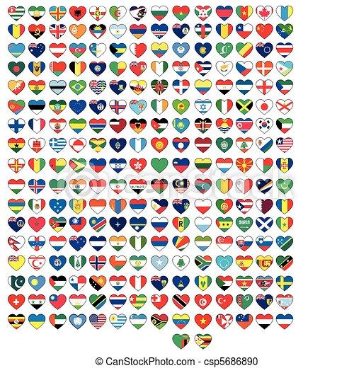 állhatatos, szív, zászlók - csp5686890