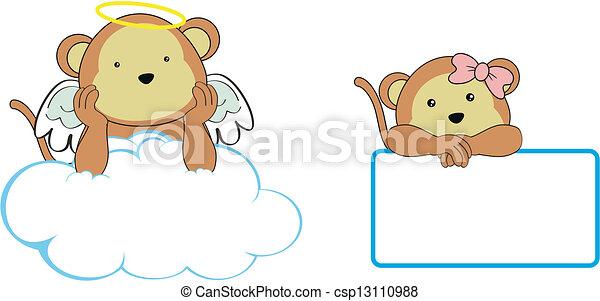 El espacio de copia de Monkey Angel - csp13110988
