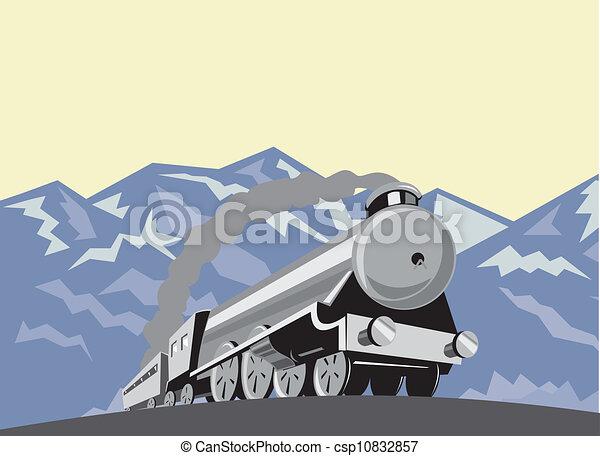 Tren de vapor locomotora de bajo ángulo retro - csp10832857