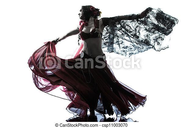 árabe, bailarín, el bailar del vientre, mujer - csp11003070