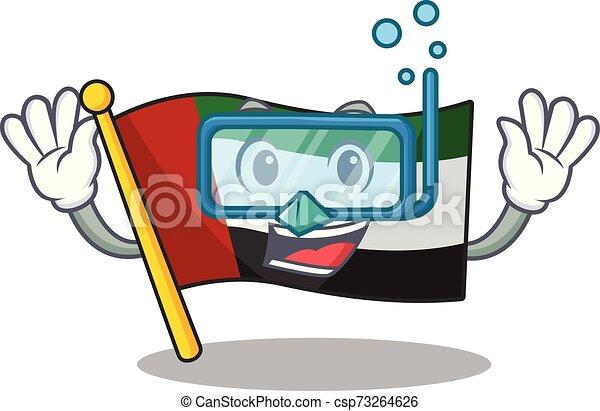 Bandera de inmersión Unida Árabes de dibujos aislados - csp73264626