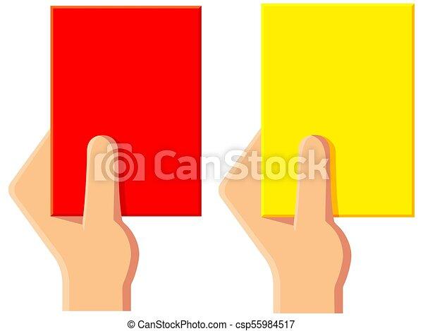 Juego de iconos de tarjetas amarillas de árbitro de fútbol - csp55984517