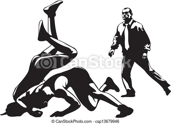 Lucha libre y árbitro - csp13679946