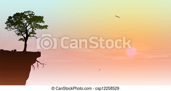 Árbol en un precipicio - csp12258529