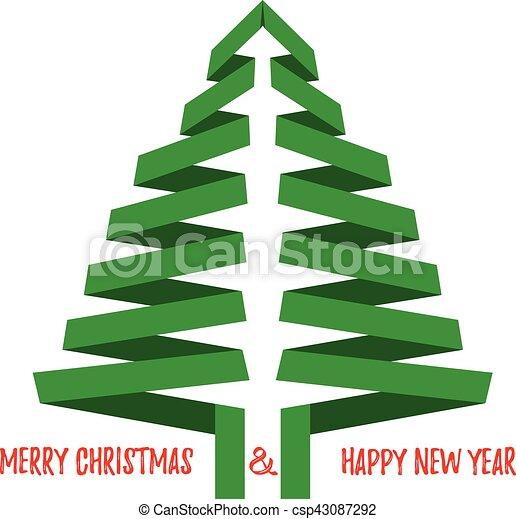 Árbol de Navidad Vector con saludos. Aislado en blanco. - csp43087292
