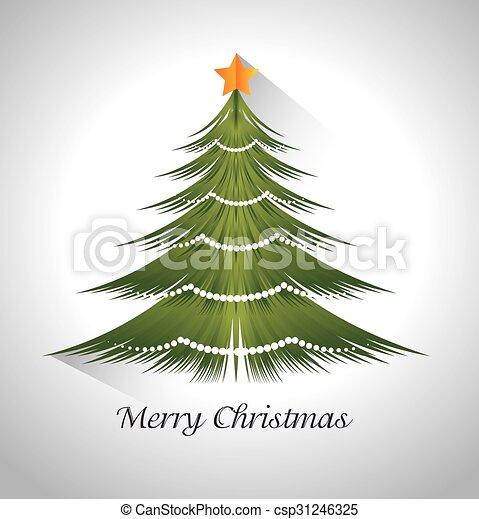 Feliz Navidad con pino de árbol - csp31246325