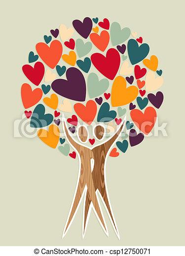 árbol Amor Familia Vector Diversidad Coloring árbol