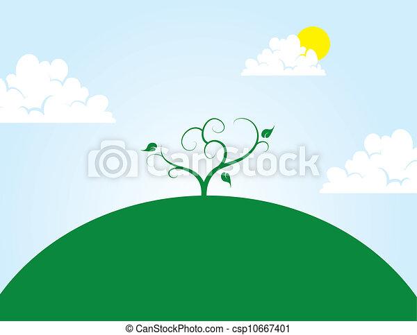 árbol, colina - csp10667401