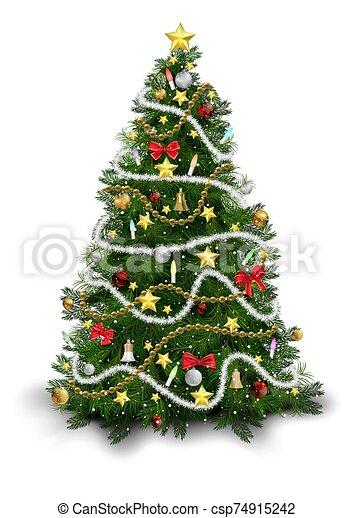 árbol, colorido, ornamentos, navidad - csp74915242
