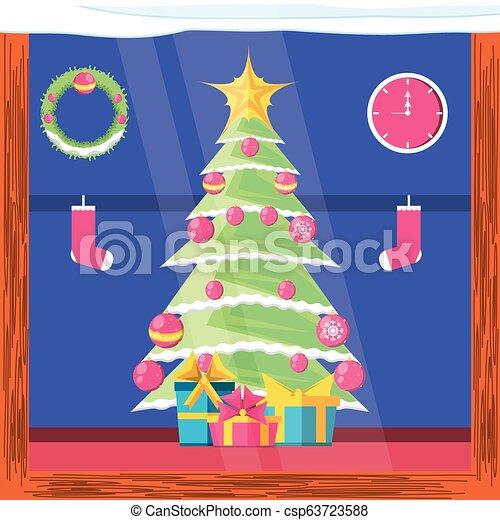 Pine Tree con iconos Feliz Navidad - csp63723588