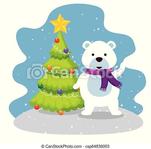 Árbol de pino de Navidad con oso de nieve - csp64836003