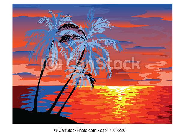 Vista al atardecer en la playa con palmera - csp17077226