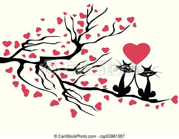 árbol Gatos Amor árbol Amor Aislado Gatos Plano De Fondo Blanco