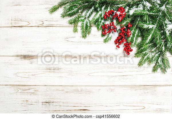 árbol hoja perenne, ramas, árbol, decoración, fondo., bayas, navidad, rojo - csp41556602