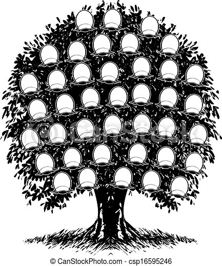 árbol Illustration Familia Color Retratos Uno Vector