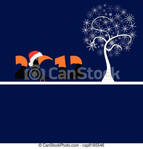 Árbol en copos blancos y ilustración vectorial 2012 - csp8165546