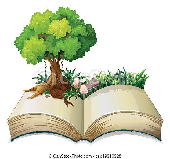 193 Rbol Libro Abierto 193 Rbol Ilustraci 243 N Libro Plano De