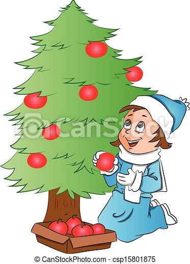árbol Mujer Vector Decorar Navidad Feliz Baubles