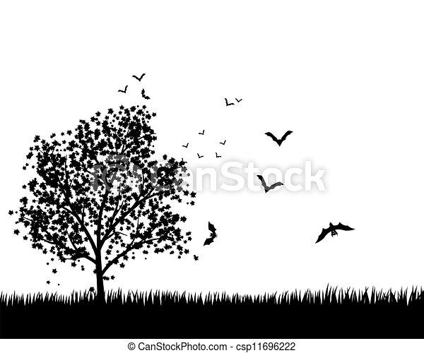 Árbol de arce con murciélagos - csp11696222