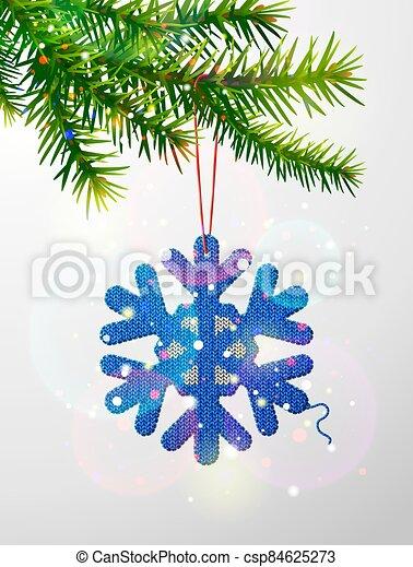árbol, navidad, copo de nieve, tejido, símbolo, rama - csp84625273