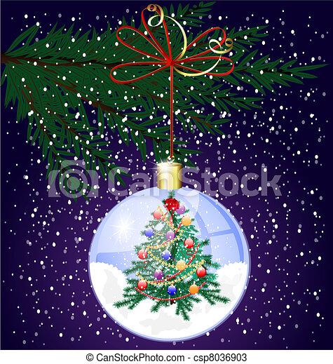 Rbol navidad nieve rbol dentro nieve bajas esfera - Arbol navidad nieve ...