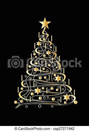 El árbol de Navidad de oro - csp27271942