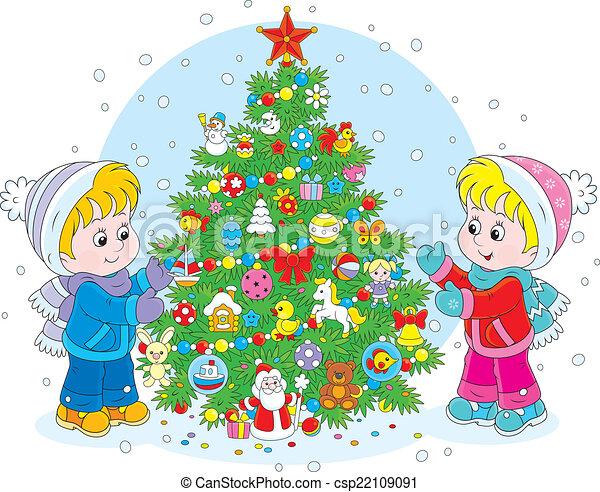 Ni Ef Bf Bdos Decorando Arbol De Navidad
