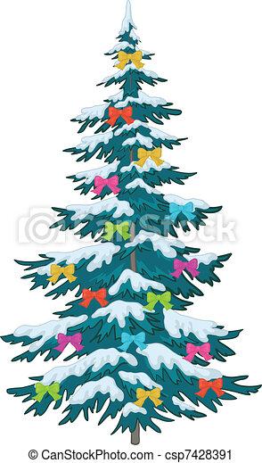 Árbol navideño con adornos - csp7428391