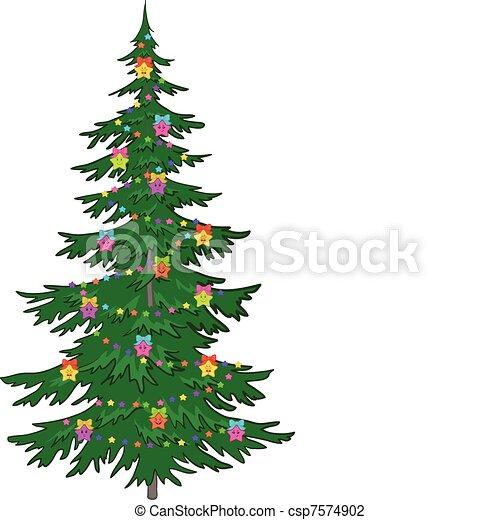 Árbol navideño con adornos - csp7574902