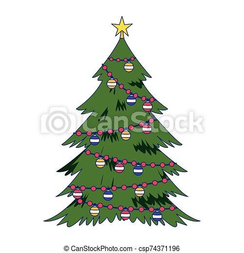 árbol, ornamentos de navidad, plano, diseño - csp74371196