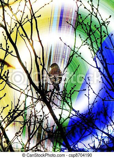 Un pájaro en un árbol - csp8704190