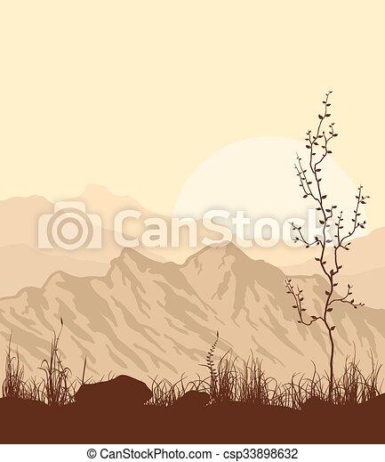 Paisaje con montañas, hierba y árbol. - csp33898632