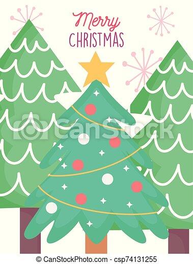 árbol, pelotas, alegre, tarjeta, pino, decoración de estrella de navidad - csp74131255