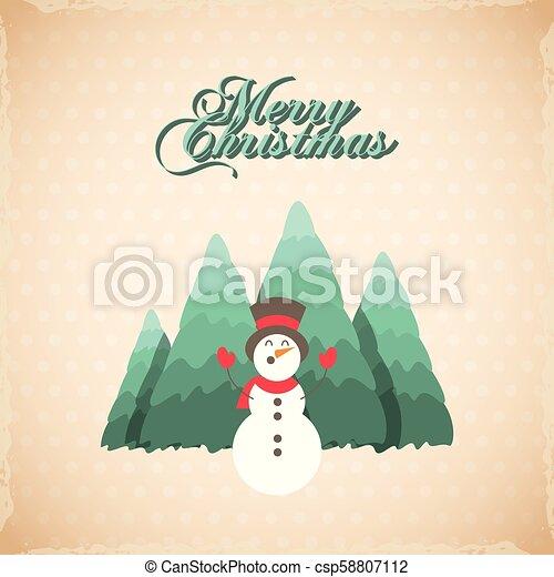 Feliz Navidad, tarjeta de decoración de pino - csp58807112
