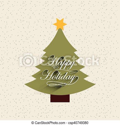 Feliz Navidad, tarjeta de decoración de pino - csp40749380